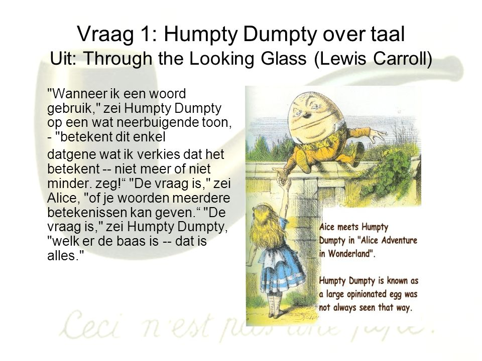 Vraag 1: Humpty Dumpty over taal Uit: Through the Looking Glass (Lewis Carroll)