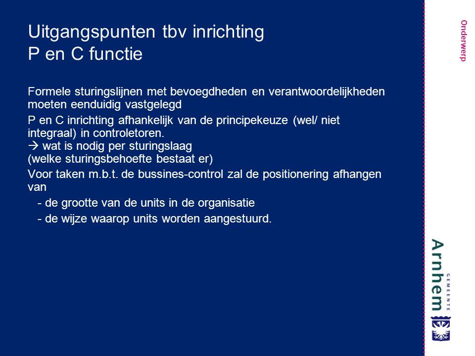 Uitgangspunten tbv inrichting P en C functie