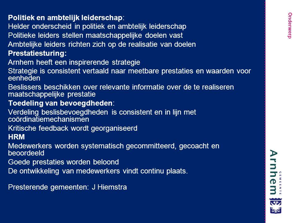Politiek en ambtelijk leiderschap: