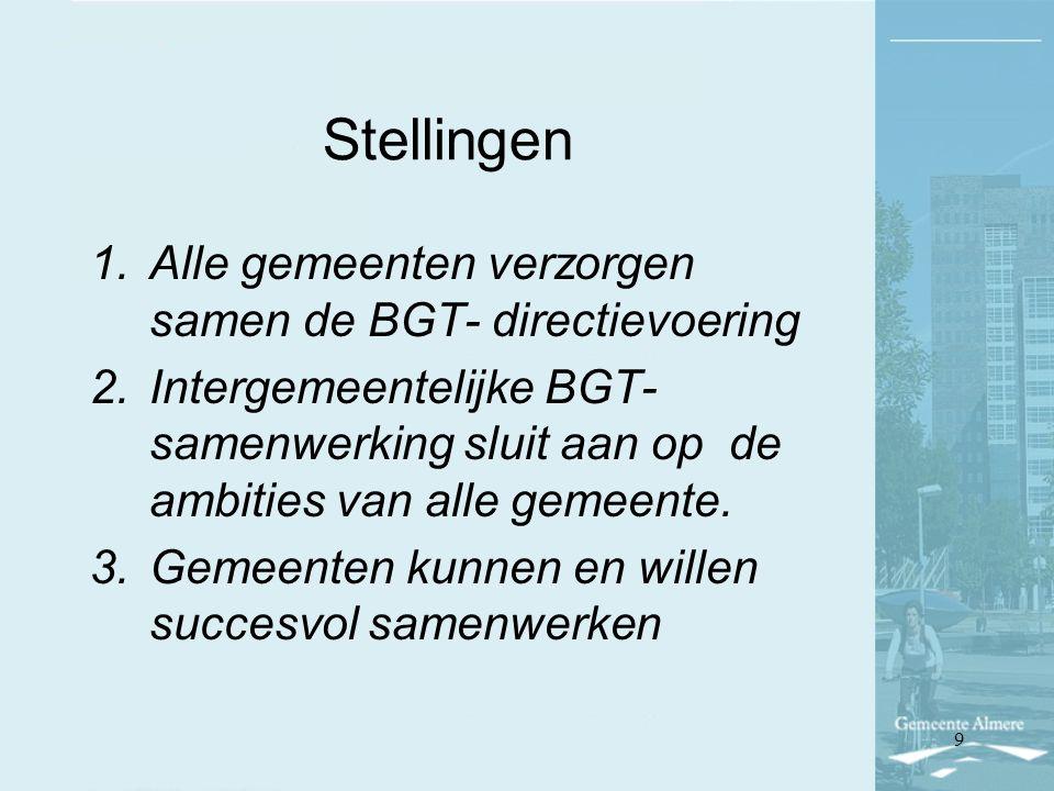 Stellingen Alle gemeenten verzorgen samen de BGT- directievoering