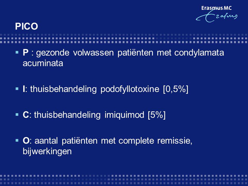 PICO P : gezonde volwassen patiënten met condylamata acuminata