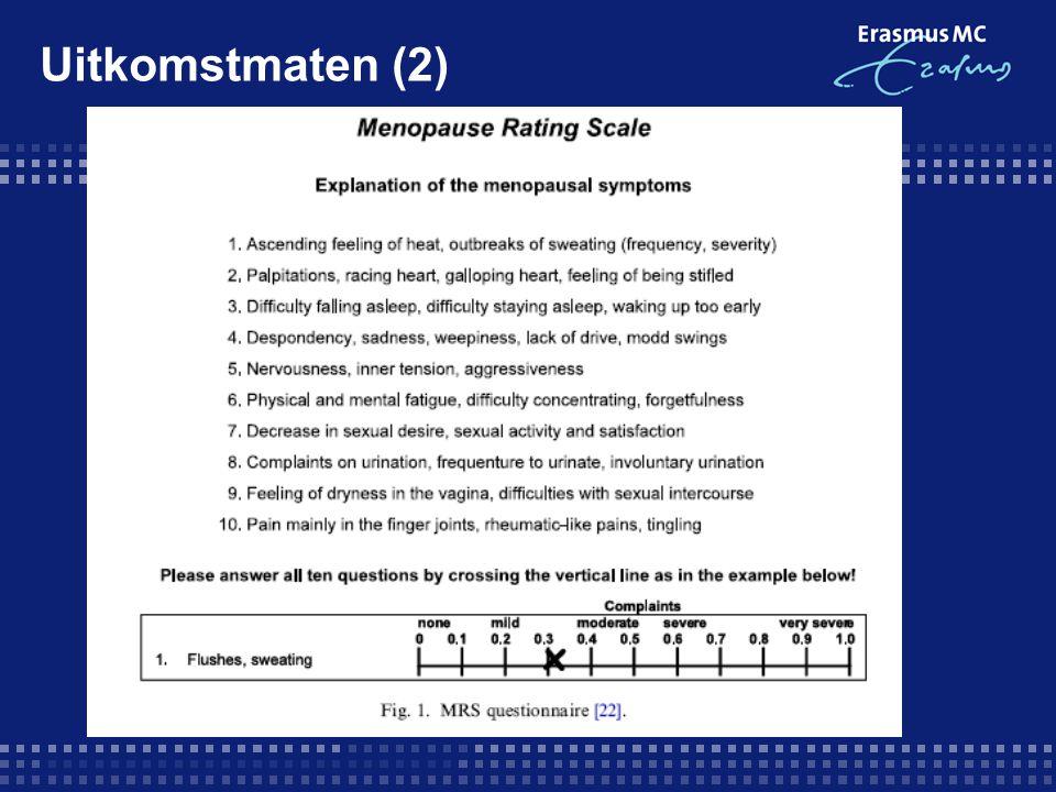 Uitkomstmaten (2) Patiënten krijgen een lijst met symptomen, als ze last van het symptoom hebben, moeten ze een vakje aankruisen.