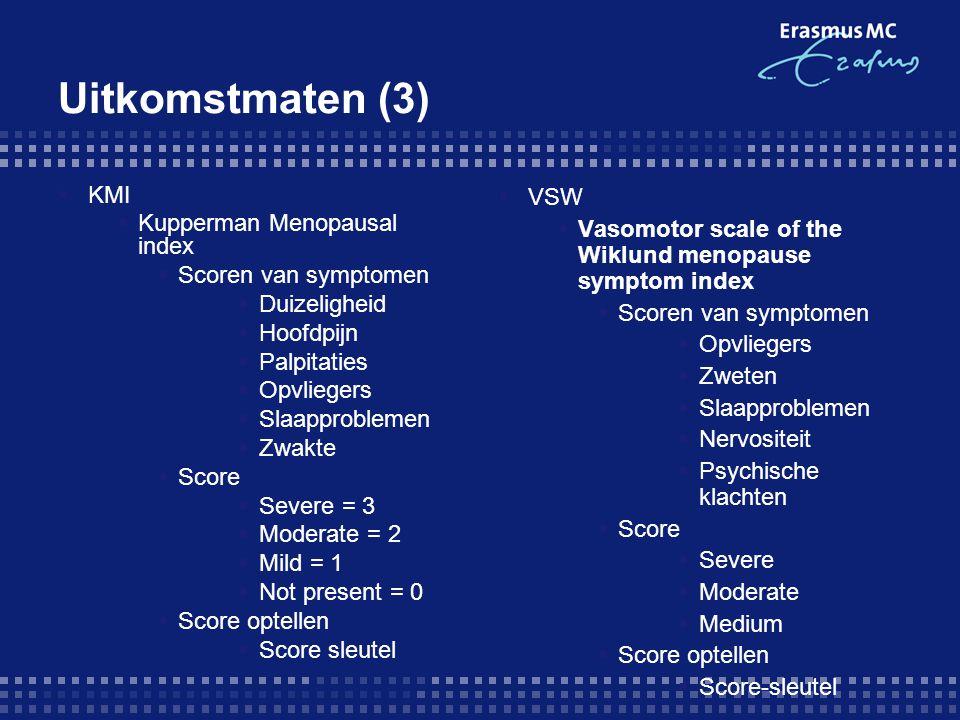 Uitkomstmaten (3) KMI Kupperman Menopausal index Scoren van symptomen