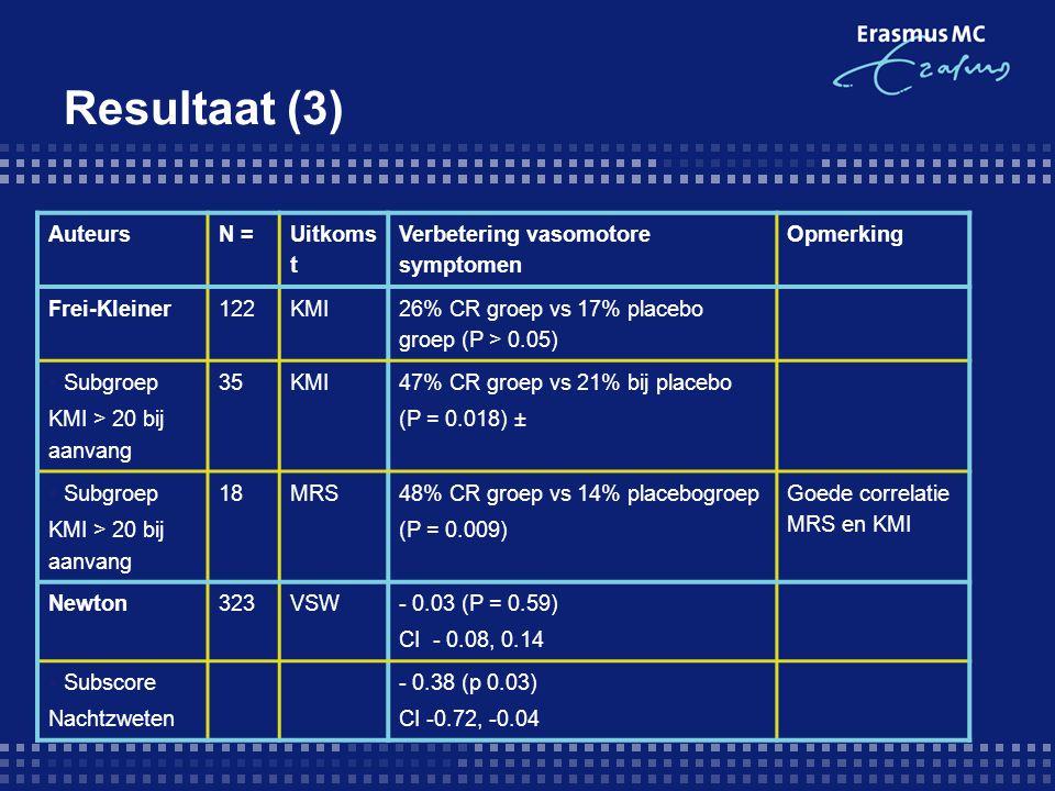 Resultaat (3) Auteurs N = Uitkomst Verbetering vasomotore symptomen