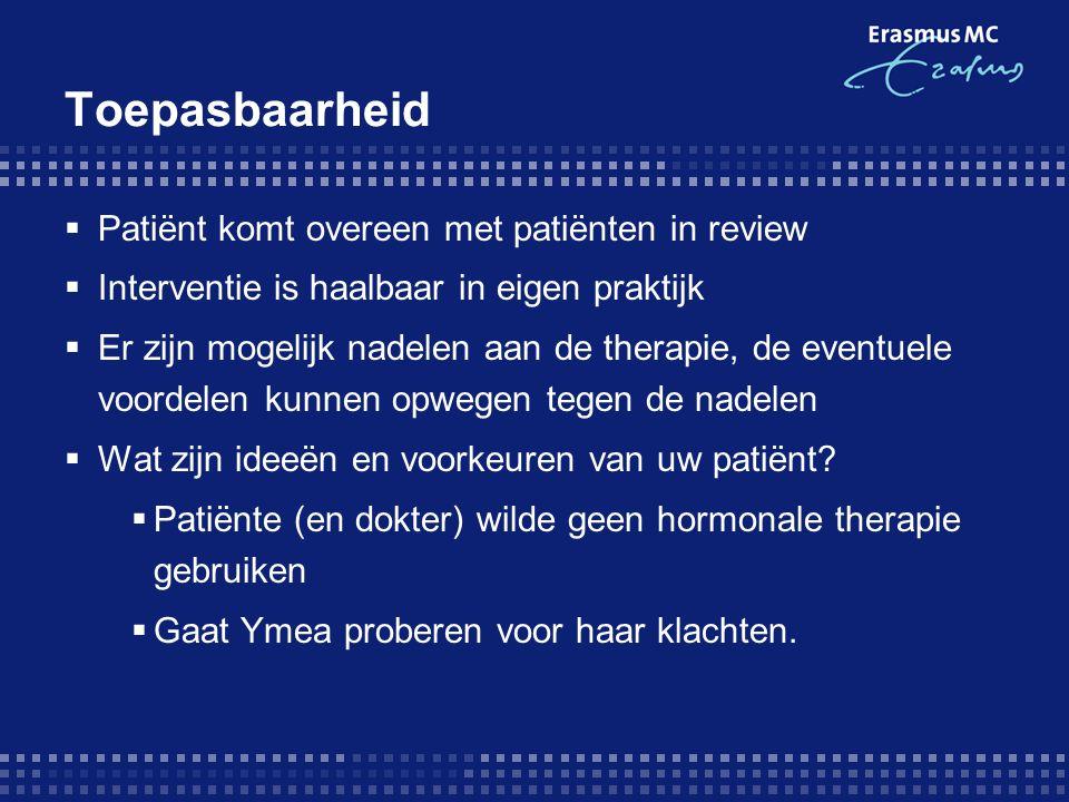 Toepasbaarheid Patiënt komt overeen met patiënten in review