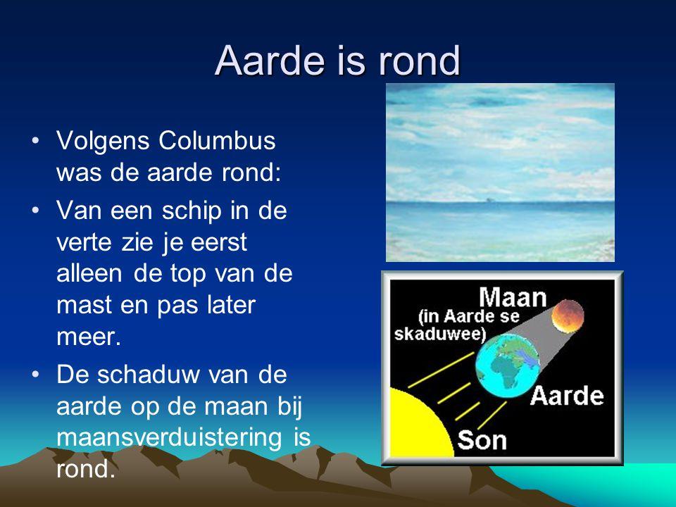 Aarde is rond Volgens Columbus was de aarde rond:
