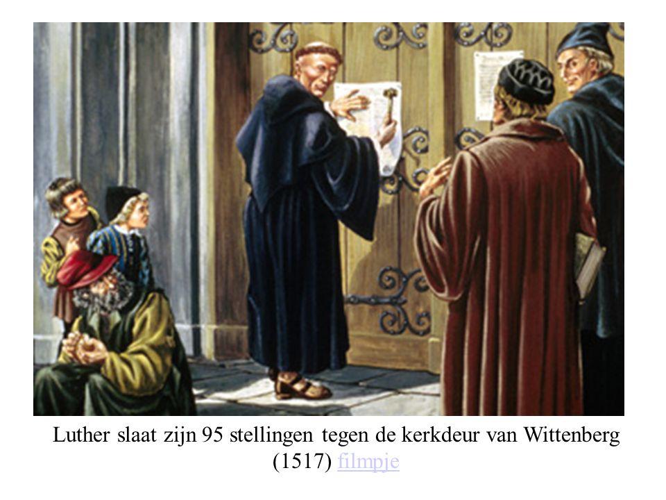 Luther slaat zijn 95 stellingen tegen de kerkdeur van Wittenberg (1517) filmpje