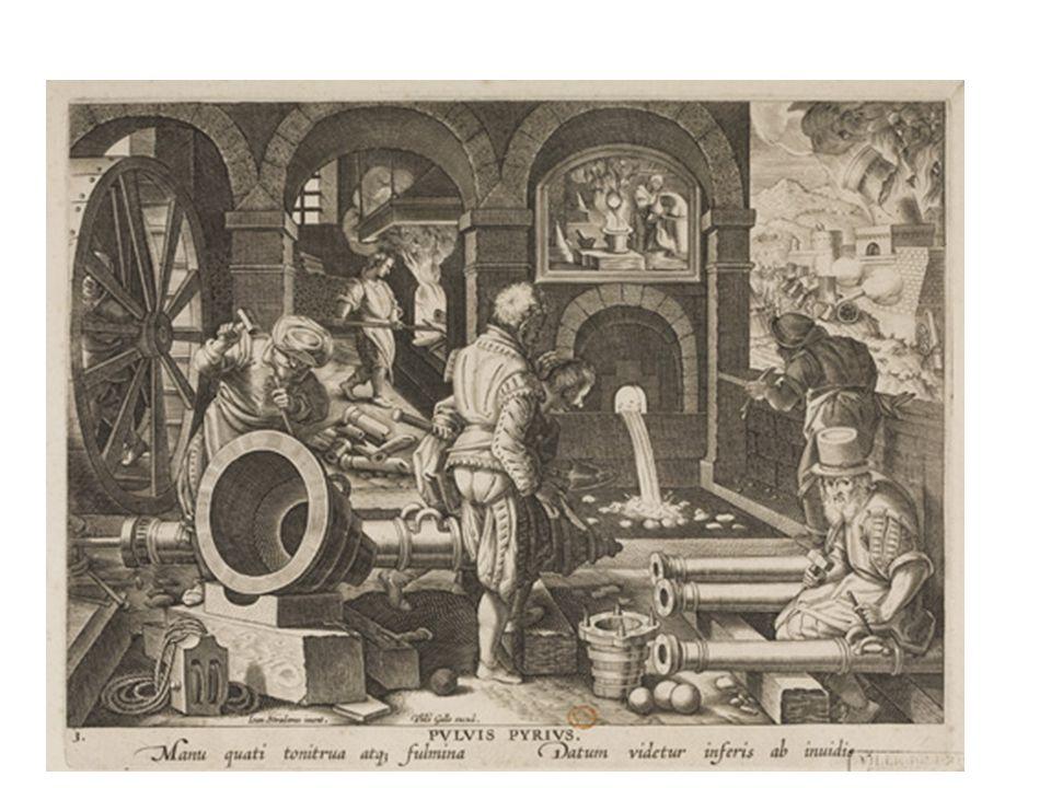 De uitvinding van buskruit De uitvinding van het buskruit of 'polvere pirica' is geïnspireerd op de Pirotechnia van Biringuccio (1540). Drie stadia in de ontdekking en het gebruik van buskruit zijn voorgesteld. De ontdekking van de explosieve stof door de legendarische Zwitserse alchemist Nero Bertoldo (13-14de eeuw) is voorgesteld in de lunet. Het productieproces van kanonnen op de voorgrond, waarbij verschillende types zeer realistisch weergegeven zijn.