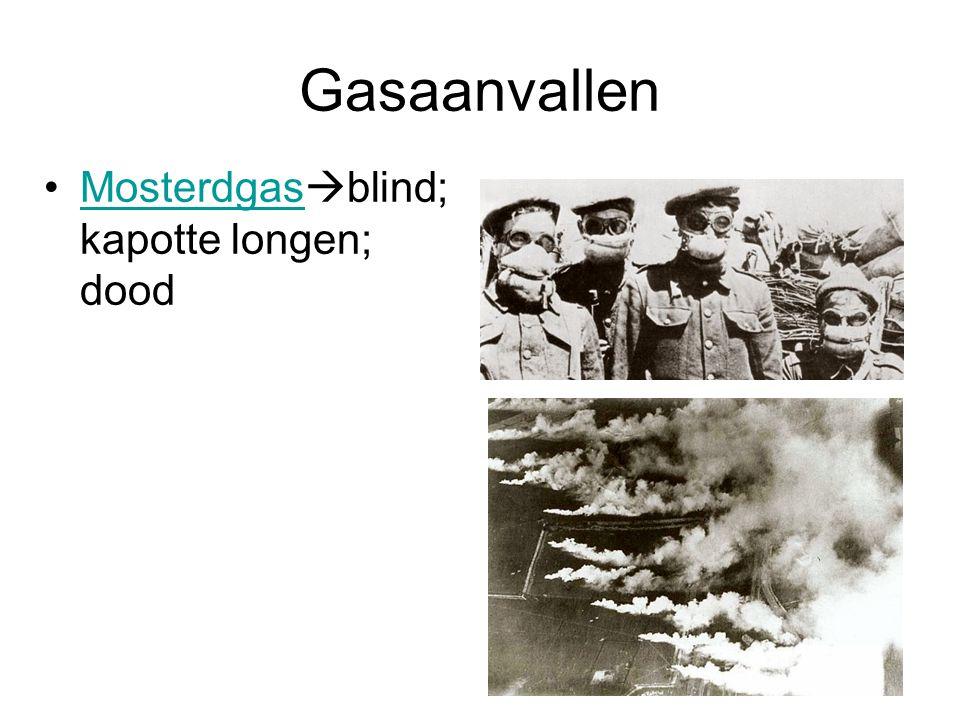 Gasaanvallen Mosterdgasblind; kapotte longen; dood