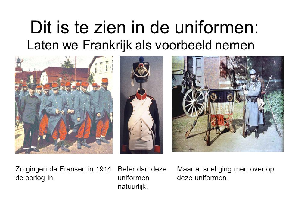 Dit is te zien in de uniformen: