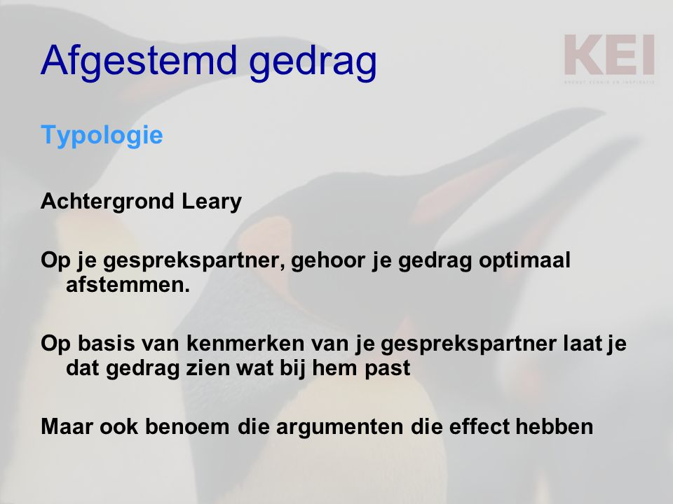 Afgestemd gedrag Typologie Achtergrond Leary