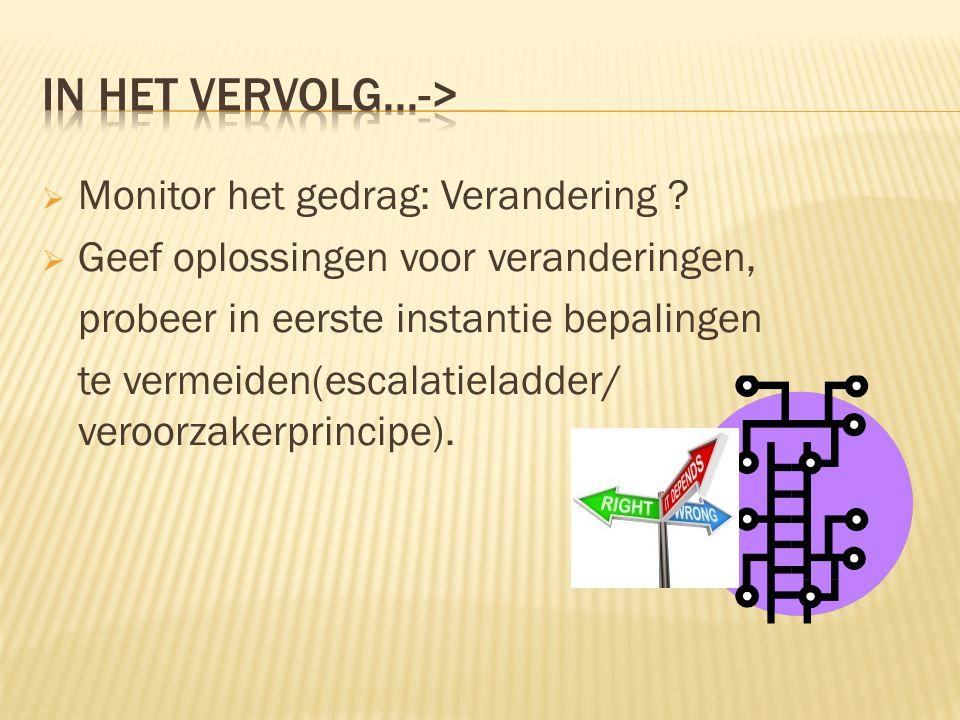 In het vervolg...-> Monitor het gedrag: Verandering