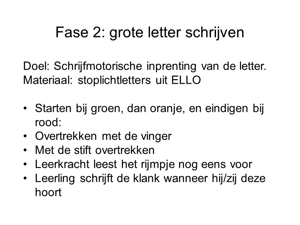 Fase 2: grote letter schrijven