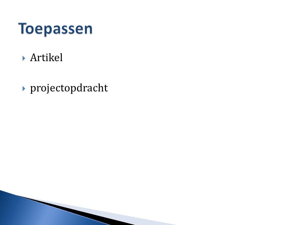 Toepassen Artikel projectopdracht