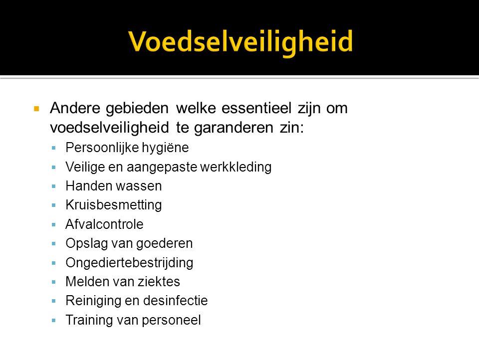 Voedselveiligheid Andere gebieden welke essentieel zijn om voedselveiligheid te garanderen zin: Persoonlijke hygiëne.