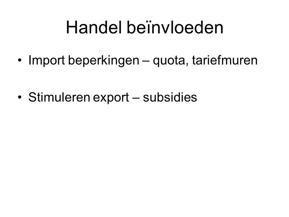 Handel beïnvloeden Import beperkingen – quota, tariefmuren
