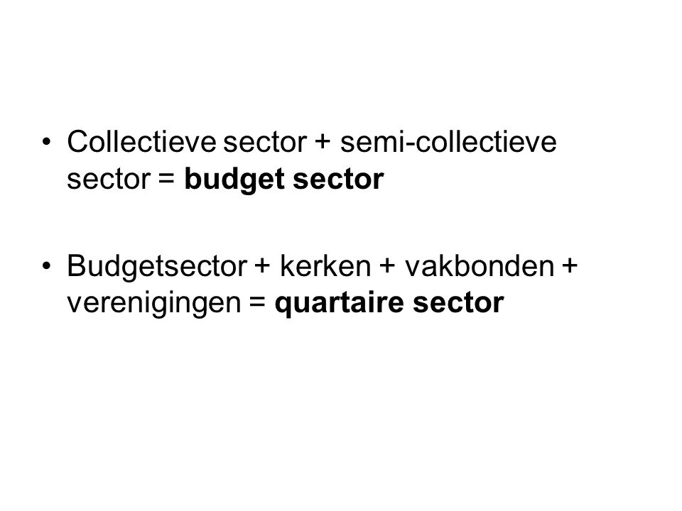 Collectieve sector + semi-collectieve sector = budget sector