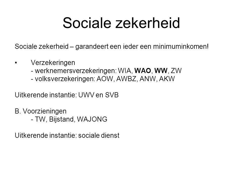 Sociale zekerheid Sociale zekerheid – garandeert een ieder een minimuminkomen! Verzekeringen. - werknemersverzekeringen: WIA, WAO, WW, ZW.