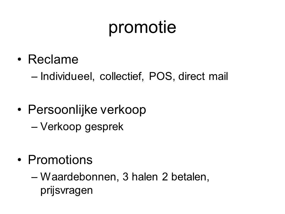 promotie Reclame Persoonlijke verkoop Promotions