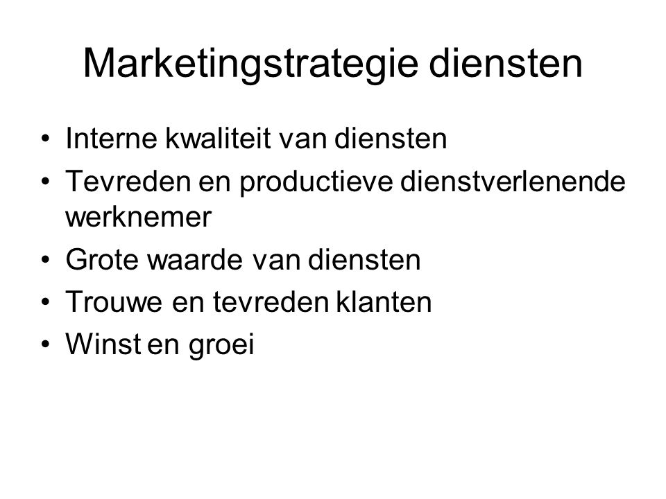 Marketingstrategie diensten