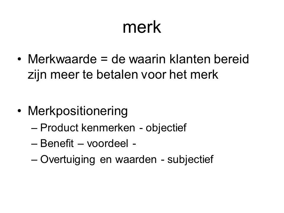 merk Merkwaarde = de waarin klanten bereid zijn meer te betalen voor het merk. Merkpositionering. Product kenmerken - objectief.