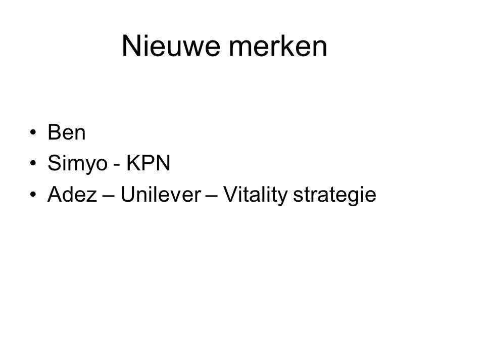 Nieuwe merken Ben Simyo - KPN Adez – Unilever – Vitality strategie