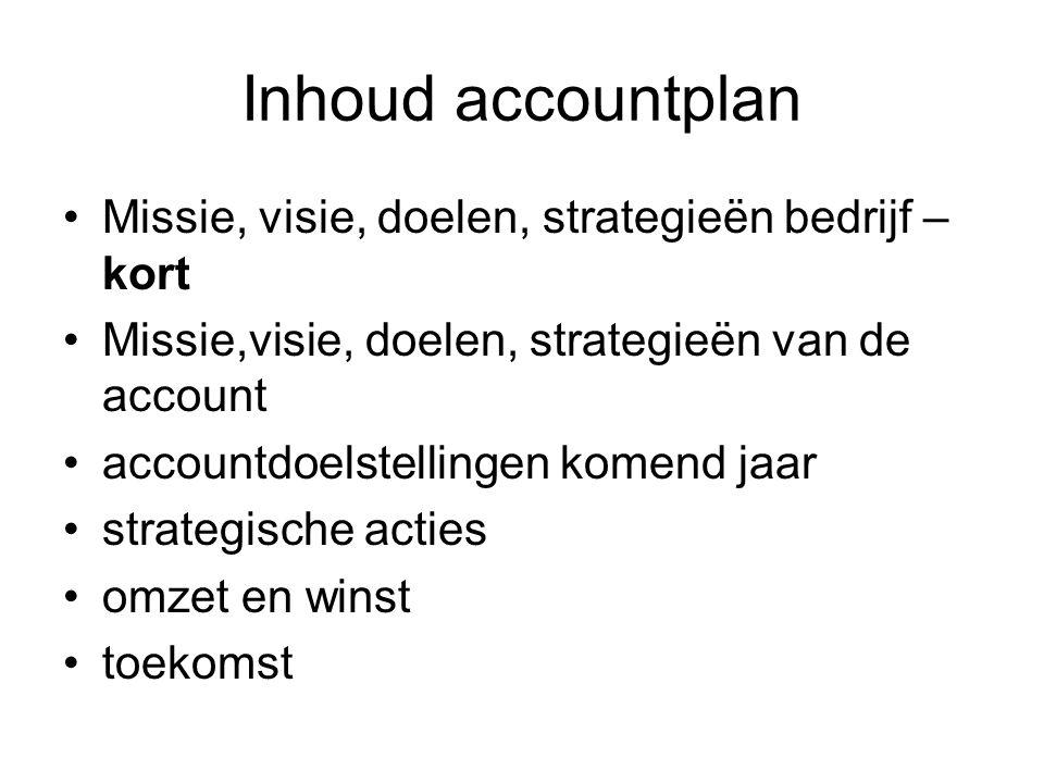 Inhoud accountplan Missie, visie, doelen, strategieën bedrijf – kort