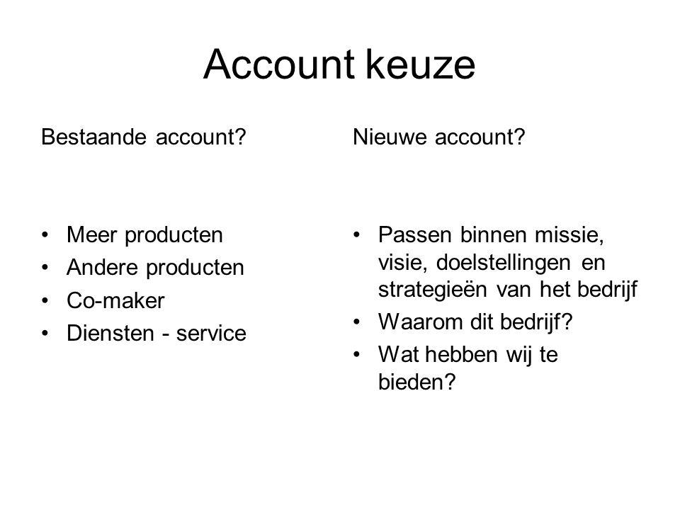 Account keuze Bestaande account Meer producten Andere producten