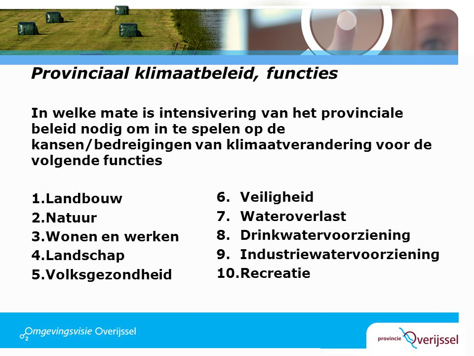 Provinciaal klimaatbeleid, functies