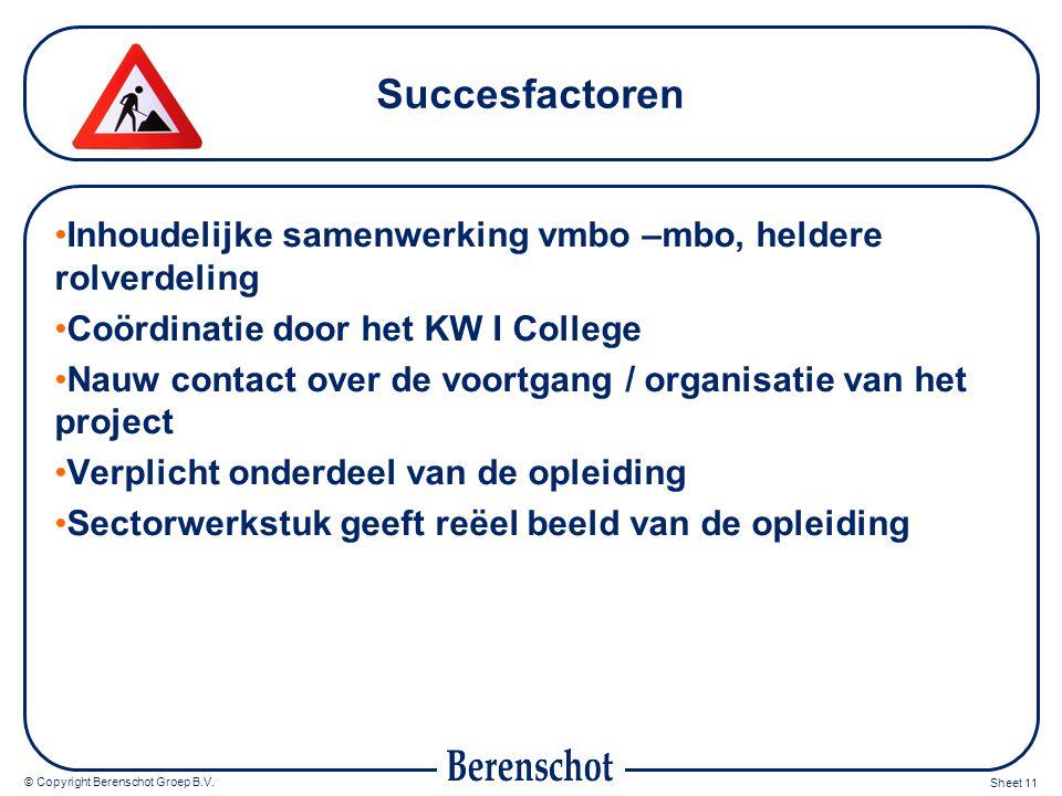 Succesfactoren Inhoudelijke samenwerking vmbo –mbo, heldere rolverdeling. Coördinatie door het KW I College.
