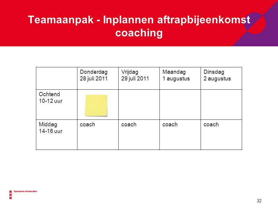 Teamaanpak - Inplannen aftrapbijeenkomst coaching