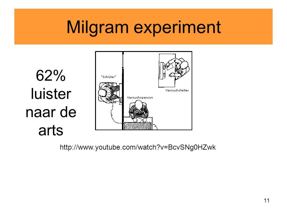 Milgram experiment 62% luister naar de arts