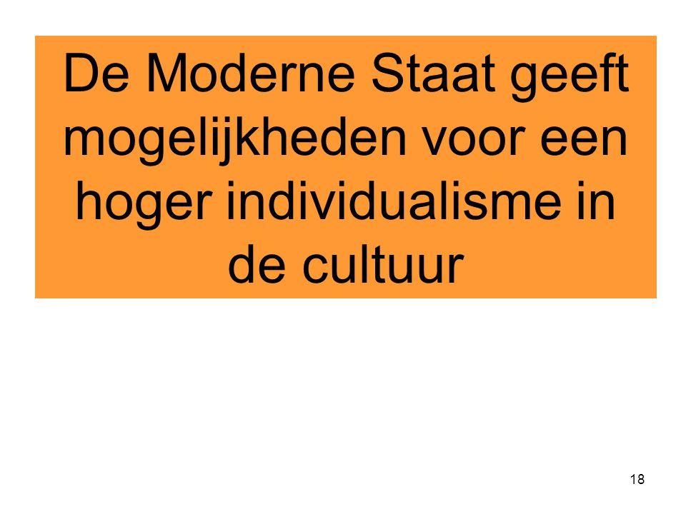 De Moderne Staat geeft mogelijkheden voor een hoger individualisme in de cultuur