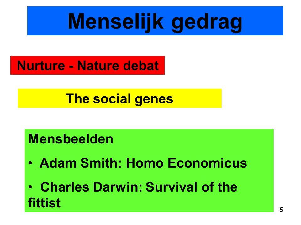 Menselijk gedrag Nurture - Nature debat The social genes Mensbeelden