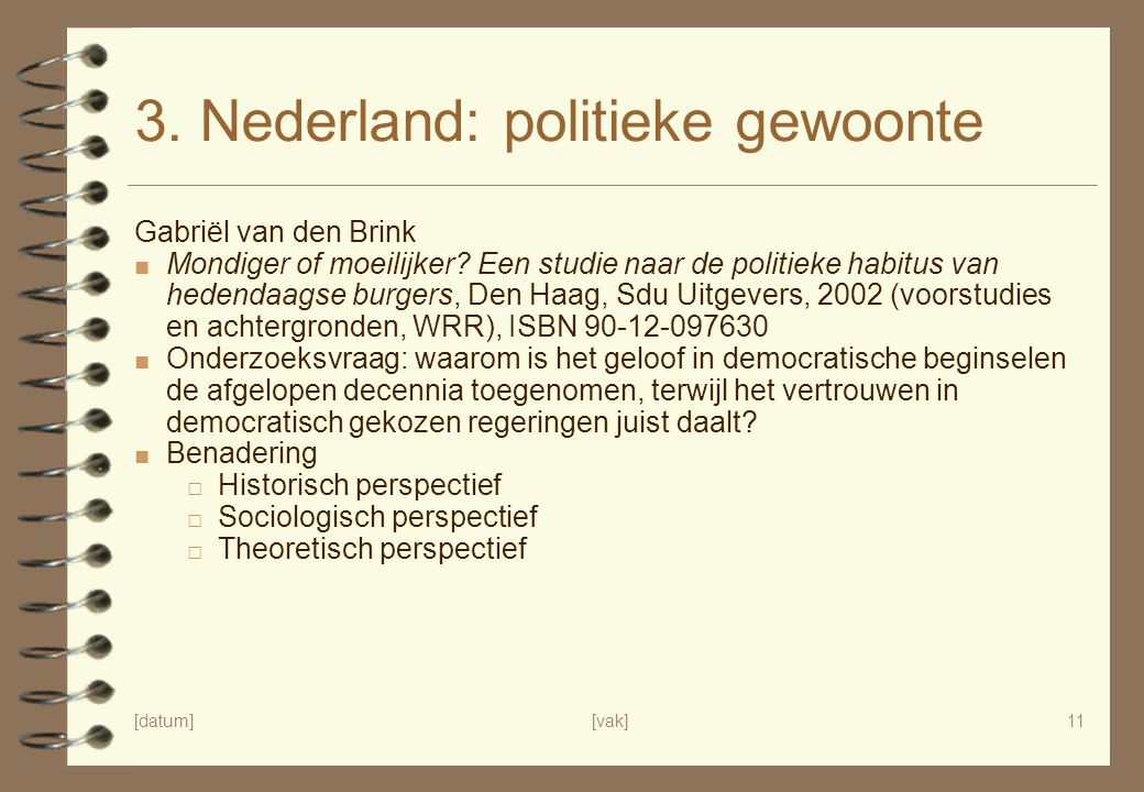3. Nederland: politieke gewoonte