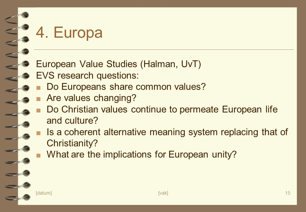4. Europa European Value Studies (Halman, UvT) EVS research questions: