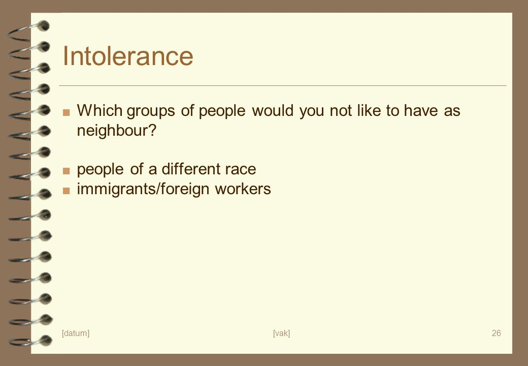 Intolerance Which groups of people would you not like to have as neighbour people of a different race.