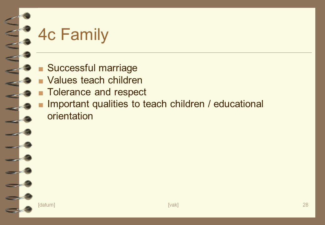 4c Family Successful marriage Values teach children