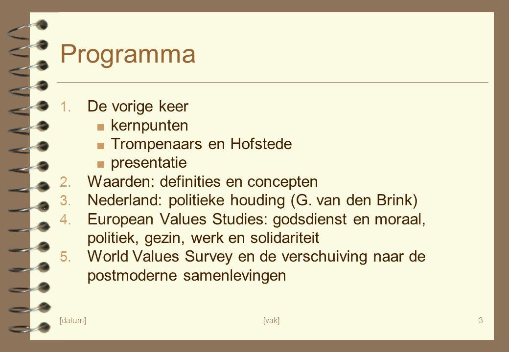 Programma De vorige keer kernpunten Trompenaars en Hofstede