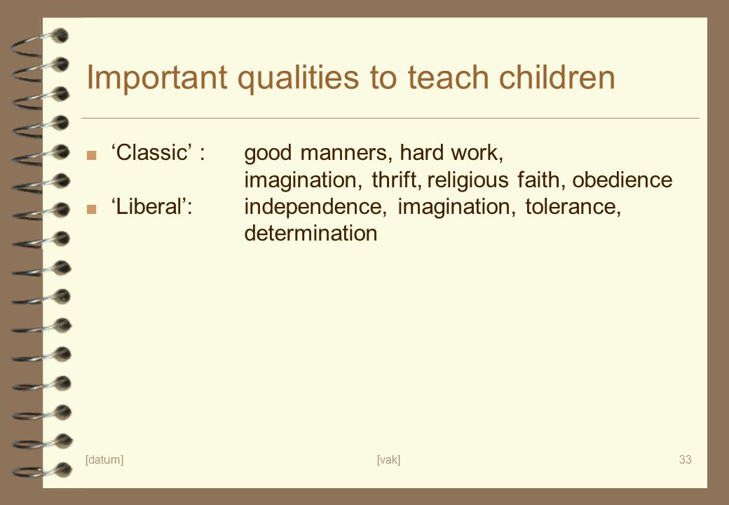 Important qualities to teach children