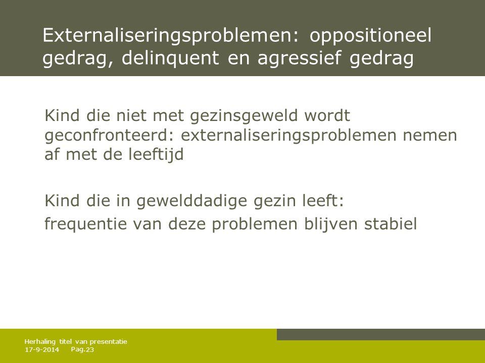 Externaliseringsproblemen: oppositioneel gedrag, delinquent en agressief gedrag