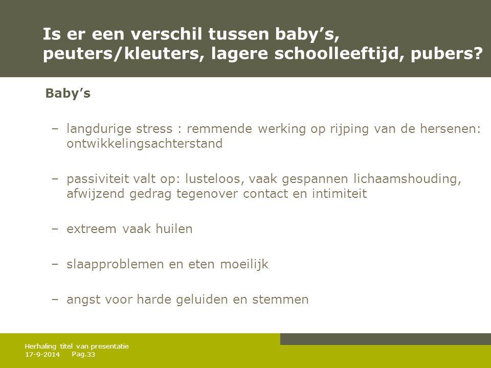 Is er een verschil tussen baby's, peuters/kleuters, lagere schoolleeftijd, pubers