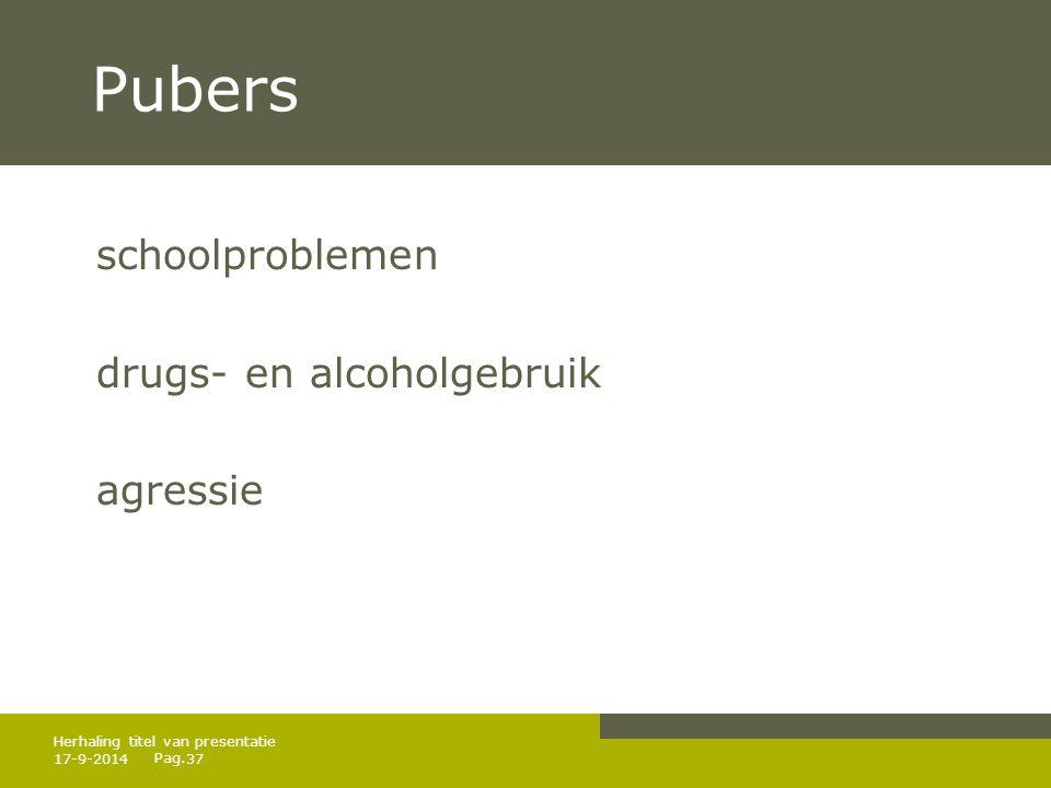 Pubers schoolproblemen drugs- en alcoholgebruik agressie