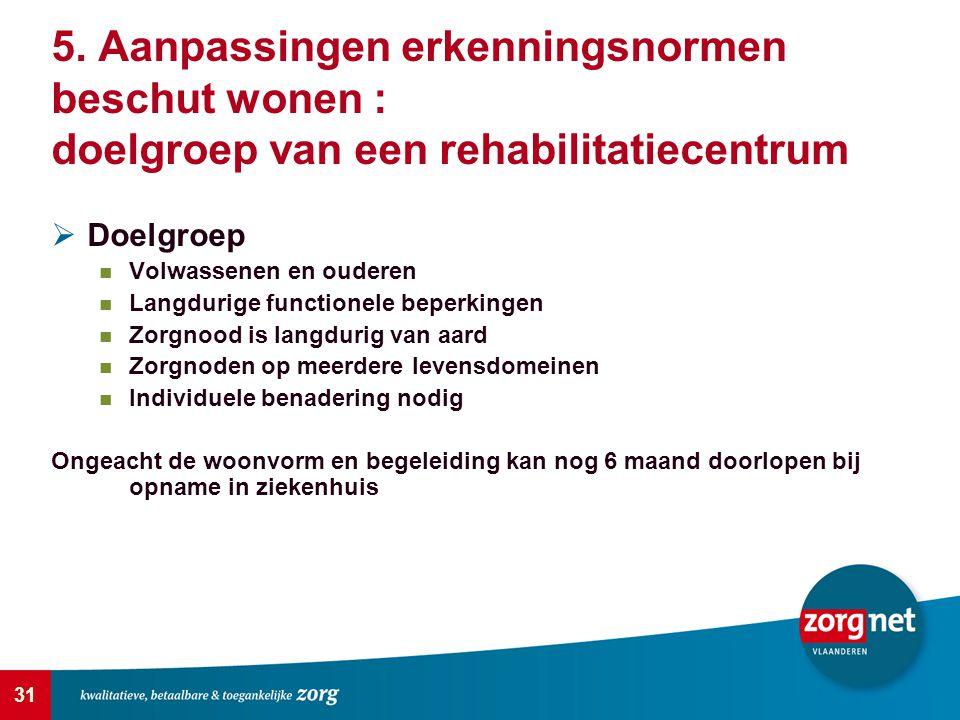 5. Aanpassingen erkenningsnormen beschut wonen : doelgroep van een rehabilitatiecentrum