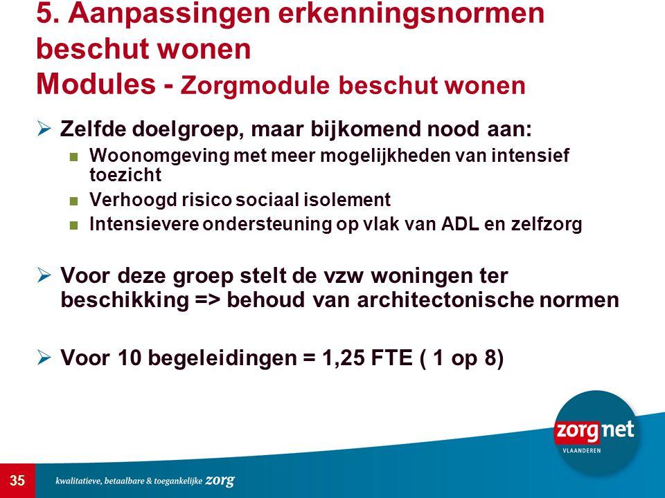 5. Aanpassingen erkenningsnormen beschut wonen Modules - Zorgmodule beschut wonen