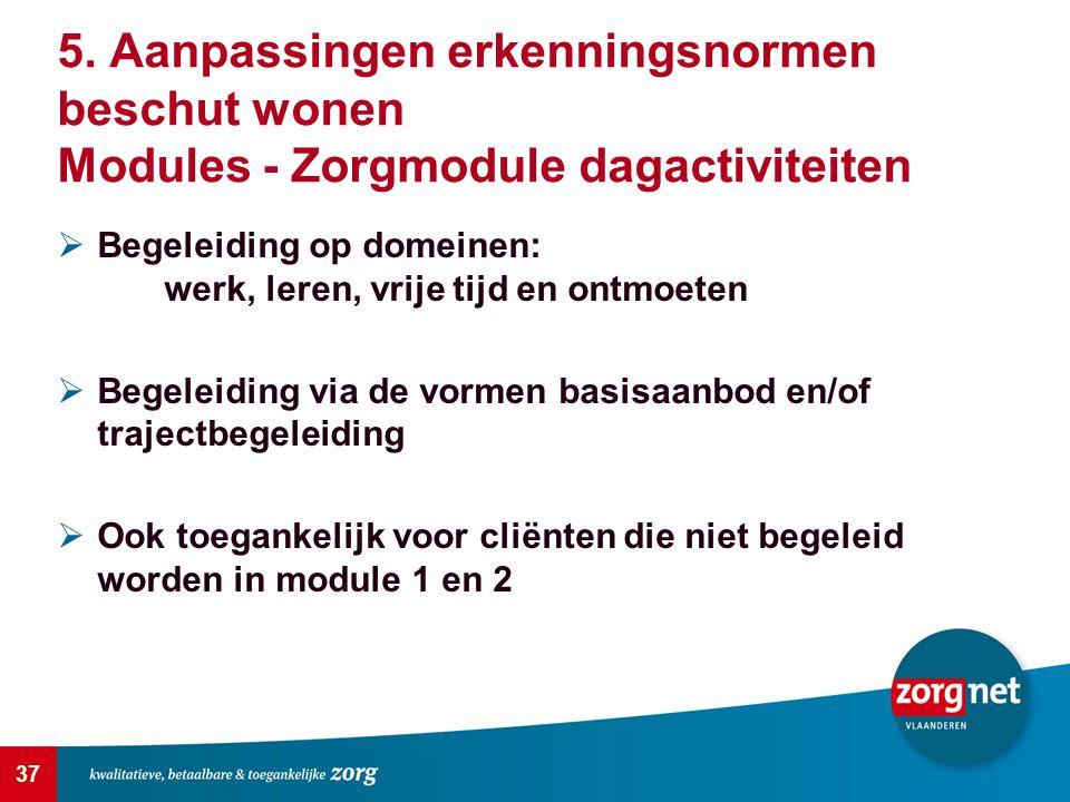 5. Aanpassingen erkenningsnormen beschut wonen Modules - Zorgmodule dagactiviteiten