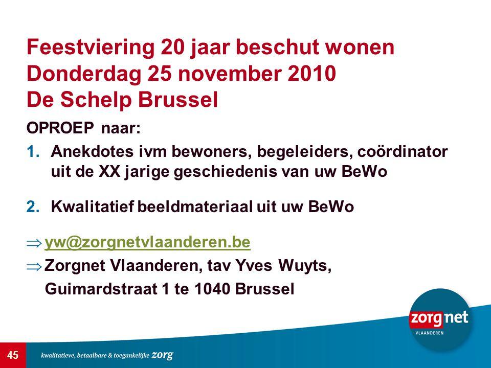 Feestviering 20 jaar beschut wonen Donderdag 25 november 2010 De Schelp Brussel