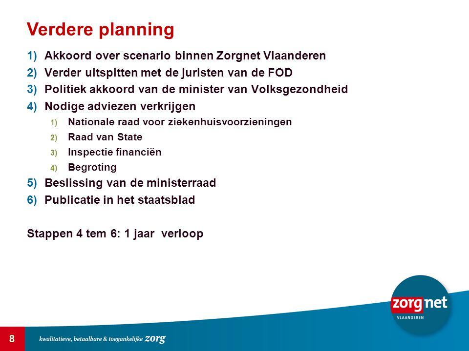 Verdere planning Akkoord over scenario binnen Zorgnet Vlaanderen