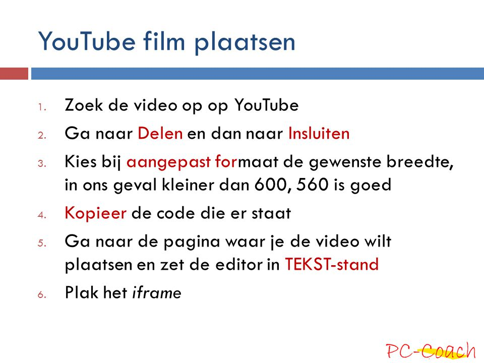 YouTube film plaatsen Zoek de video op op YouTube