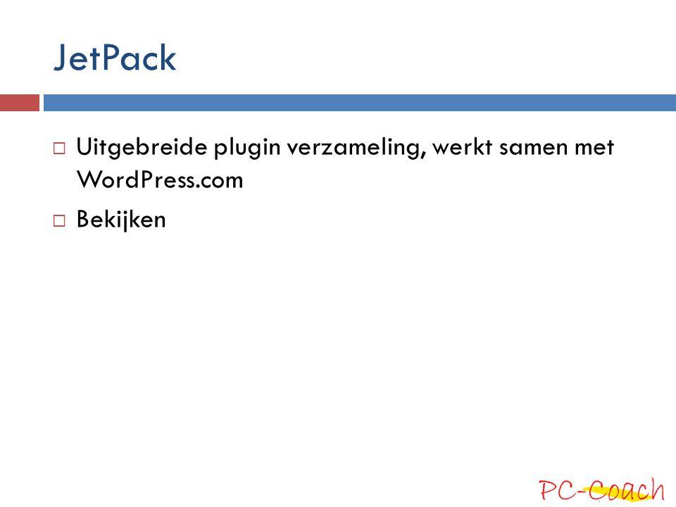 JetPack Uitgebreide plugin verzameling, werkt samen met WordPress.com